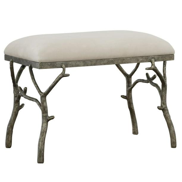 "Uttermost 23544 Lismore 24"" Wide Rustic Lodge Linen Upholstered Bench - Antique Silver /"