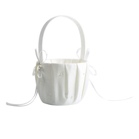 Pearl Satin Wedding Flower Girl Basket Ivory](Cheap Flower Girl Baskets)