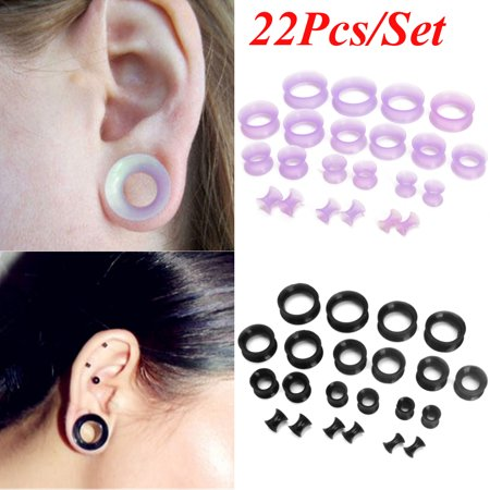 22pcs Flexible Silicone Ear Flesh Tunnels Plugs Gauges Expander Stretching Kits,Purple color