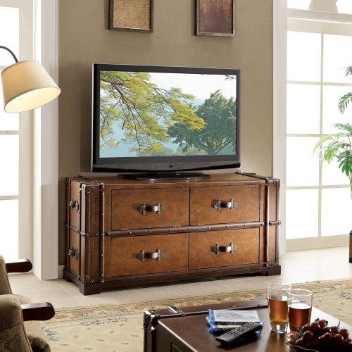 Riverside Furniture Latitudes Steamer Trunk TV Console in Aged Cognac Wood