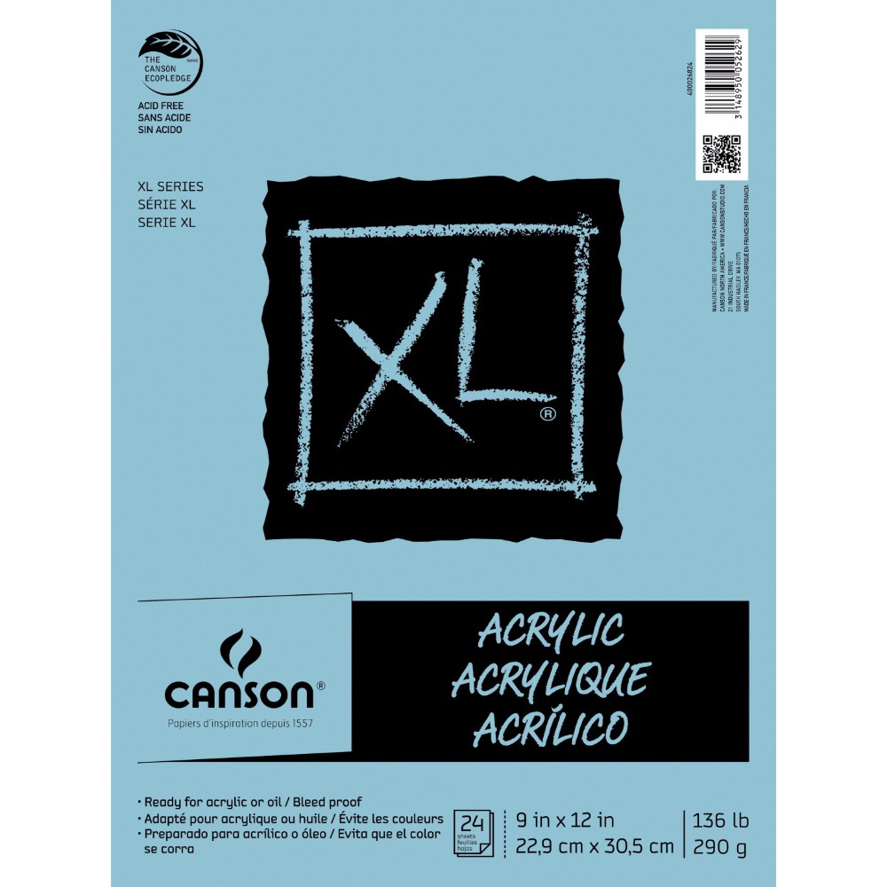 Canson 1496101 Extra Large Acrylic Pad - 136 lbs, 9 x 12 in.
