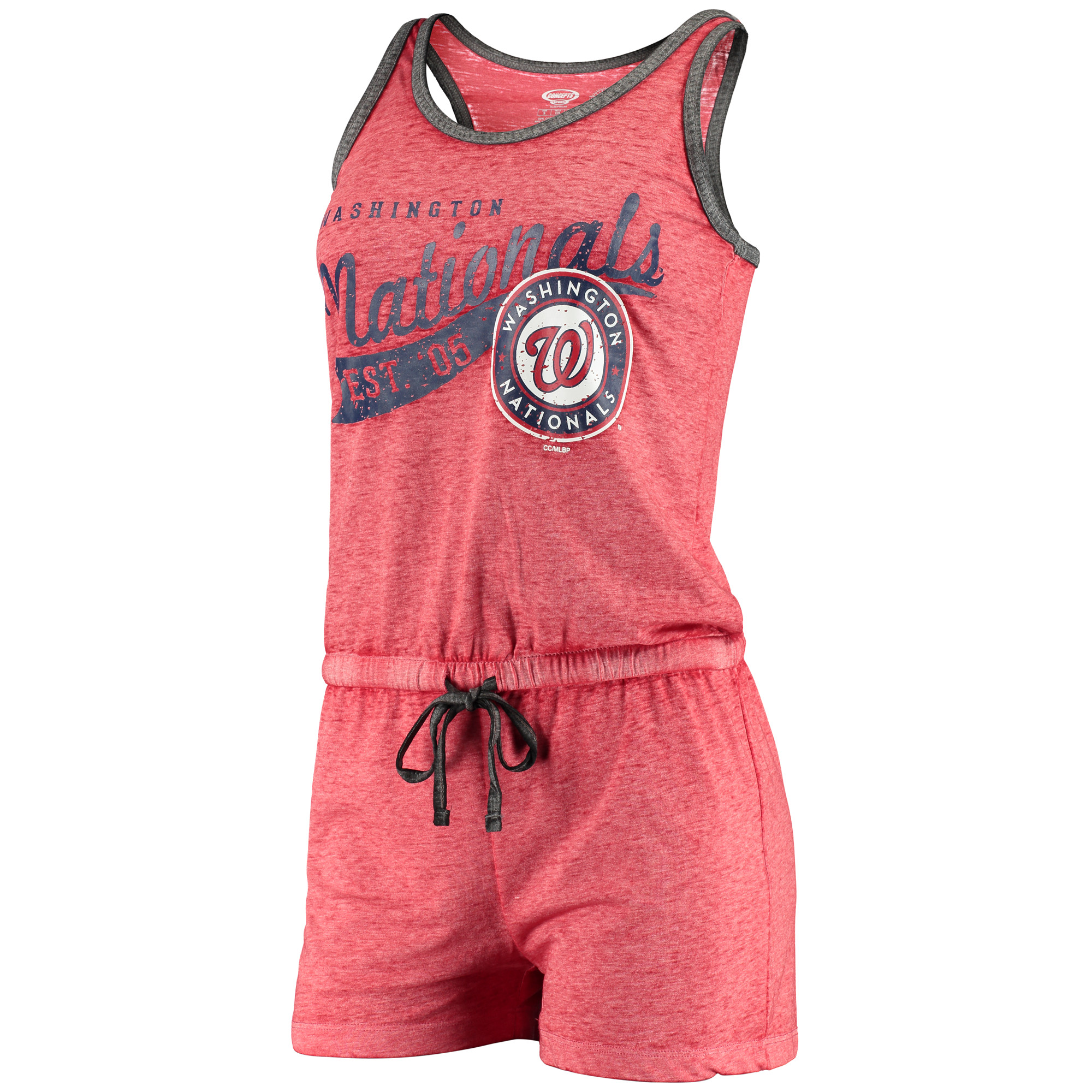 Washington Nationals Concepts Sport Women's Deed Sleep Romper Pajamas - Heathered Red
