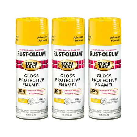 (3 Pack) Rust-Oleum Stops Rust Advanced Gloss Sunburst Yellow Protective Enamel Spray Paint, 12