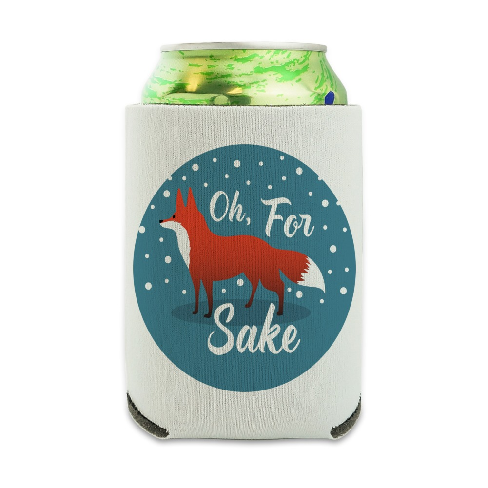 Oh For Fox Sake Funny on Teal Can Cooler - Drink Sleeve Hugger Collapsible Insulator - Beverage Insulated Holder