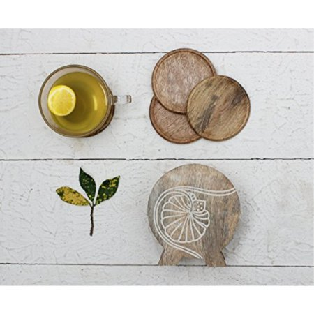 storeindya, Square Drink Coasters Handmade Set of 4 Absorbent Coasters for Tea Coffee Cup Wine Beer Glass Mug Kitchen Accessories (Marry Gold Collection)