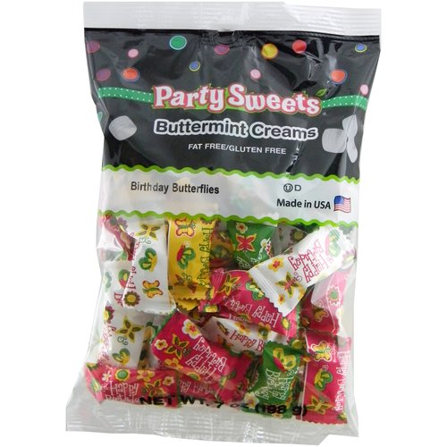 Party Sweets Birthday Butterflies Buttermint Creams Candy, 7 oz