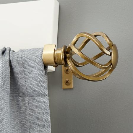 Kenney Cage Window Curtain Rod 5 8 Diameter 90 130 Length Old World Brass