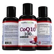 CoQ10 Liquid 100mg HBI Coq10 Premium Absorption Coenzyme Q10 for Heart Heath, Amazing taste Tropical Berry Flavor 32 servings 16oz.
