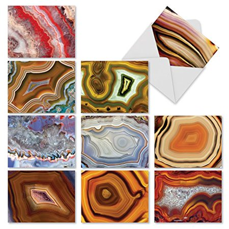 'M1547BN SEMI-PRECIOUS' 10 Assorted All Occasions Greeting Cards Feature the Beauty of Cut and Polished Geodes with Envelopes by The Best Card