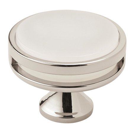 Oberon 1 3 4 in 44 mm Diameter Polished Nickel Frosted Cabinet Knob