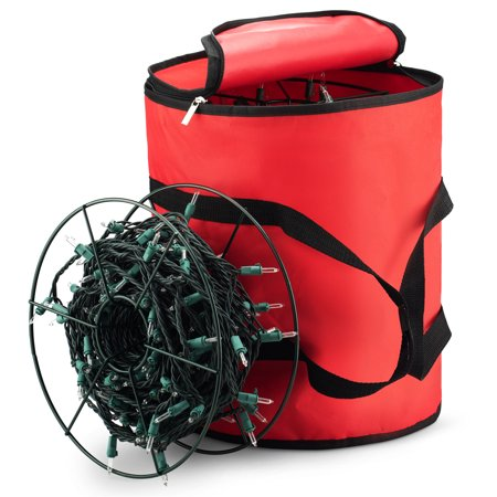 Holiday Star Christmas Light Storage With Metal Reel Fits 600 Lights Red