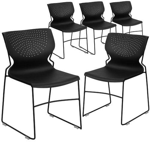 Flash Furniture 5pk HERCULES Series 661 lb. Capacity Black Full Back Stack Chair with Black Frame