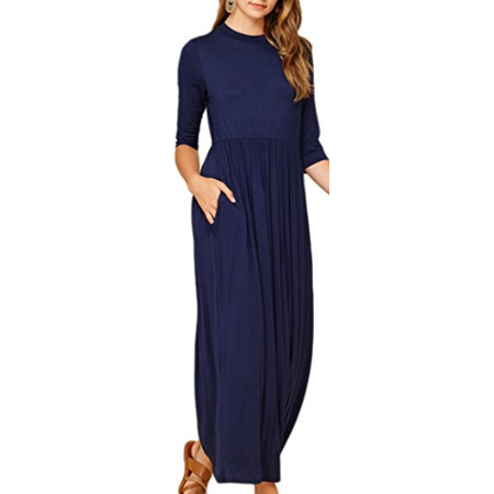 f3cf904314e Redcolourful - Redcolourful Women s Casual 3 4 Sleeve Long Babydoll Maxi  Dress with Pockets Navy M - Walmart.com