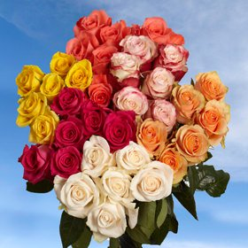 GlobalRose 100 Fresh Cut Assorted Roses Delivery - Perfect for Birthday, Anniversary or any occasion.