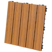 "EON Ultra 12""x12"" Polymer Interlocking Deck Balcony Tiles, Light Brown (10 Pack)"