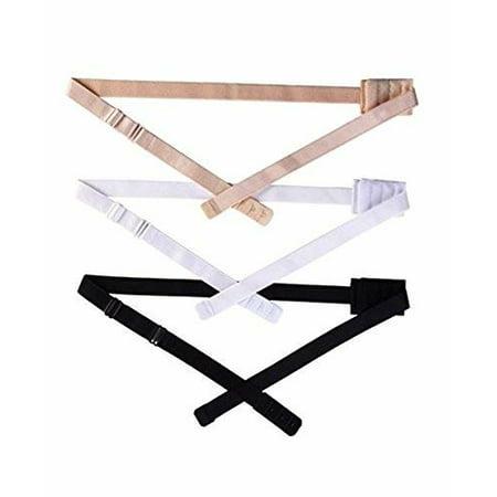 3 Pcs Women Adjustable Low Back Bra Converter Extender Strap 2 Hooks Black White and Skin Color