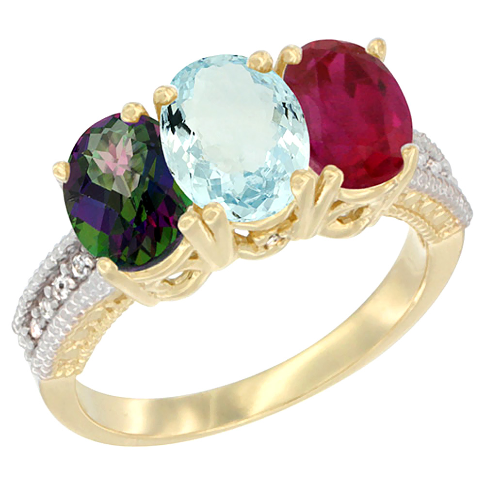 10K Yellow Gold Diamond Natural Mystic Topaz, Aquamarine & Enhanced Ruby Ring 3-Stone 7x5 mm Oval, sizes 5 10 by WorldJewels