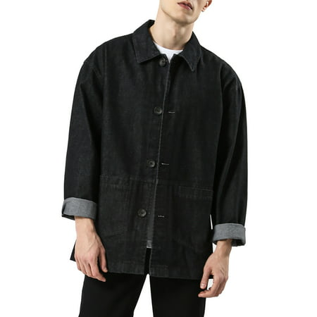 Wool Single Breasted 3 Button - Unique Bargains Men Four Buttons Single Breasted Pockets Point Collar Jeans Jacket