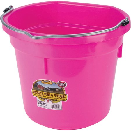 Miller Mfg Co Inc P-Little Giant Plastic Flat Back Bucket- Pink 20 Quart