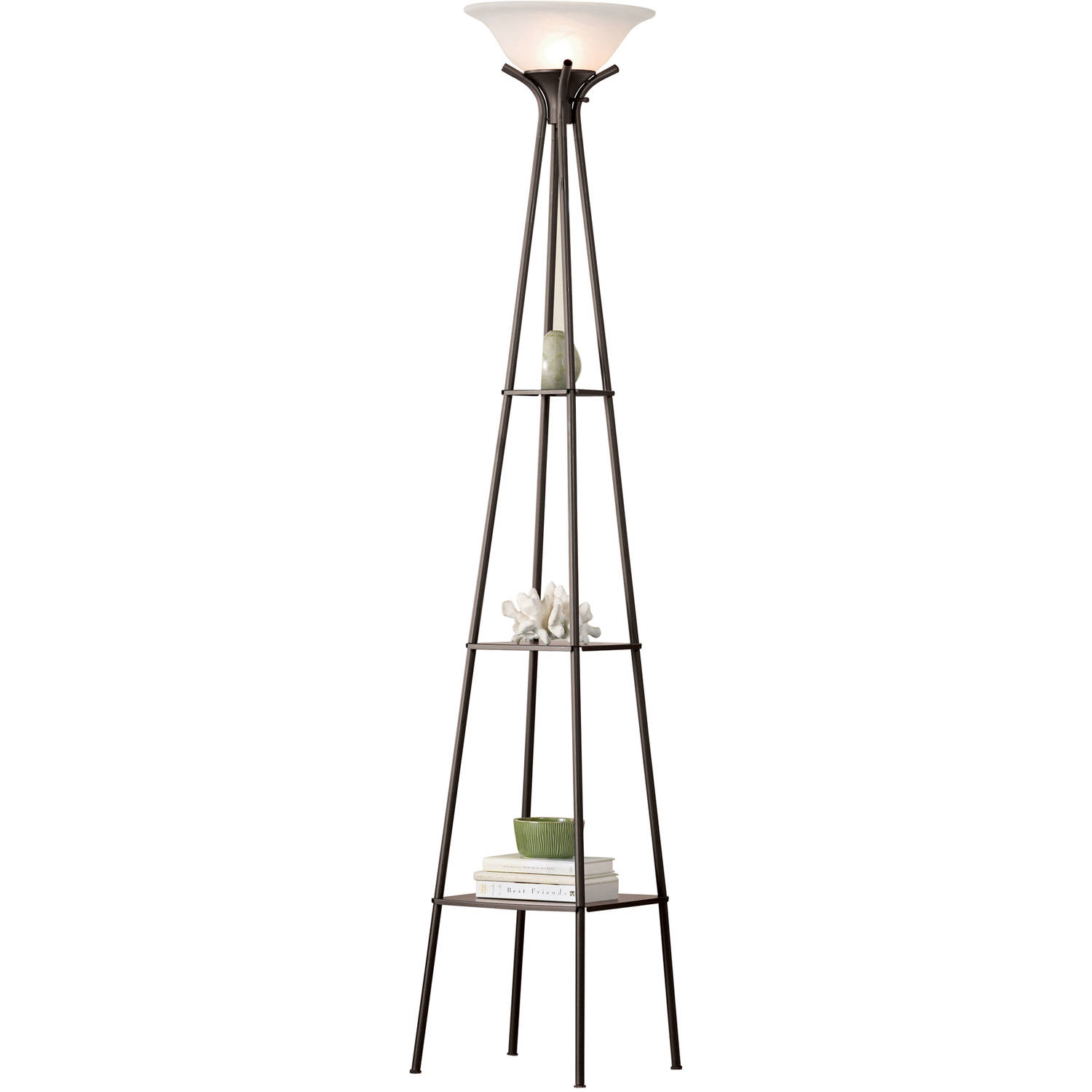 """Mainstays 69"""" Etagere Floor Lamp, Charcoal Finish, LED Bulb Included"""