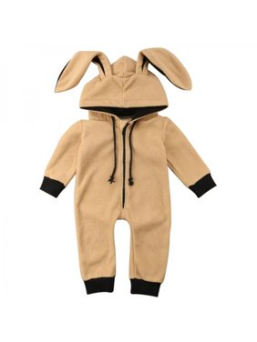 Funcee One-piece Baby Girls Boys Cute Soft Hooded Pajamas Zip Up Comfy Nightwear