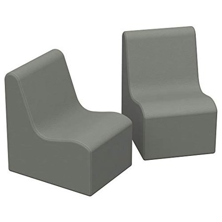 SoftScape Wave Toddler Chair Seating Set, Play Soft Supportive Foam Furniture for Kids for Bedrooms, Playrooms, Classrooms - Gray (2-Pack) - image 1 de 4