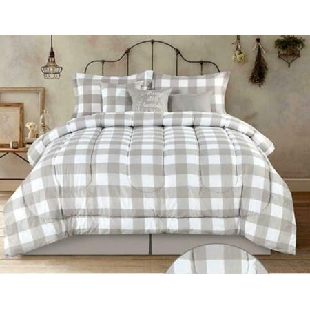 Country Farmhouse: Rustic Plaid & Buffalo Check Tan & White Full Comforter Set (7 Piece) Tan Comforter Set