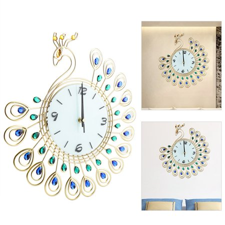 Greensen Horloge murale en forme de paon de style européen Creative Iron, pendule murale à diamant, horloge murale de style européen, horloge murale - image 1 de 8