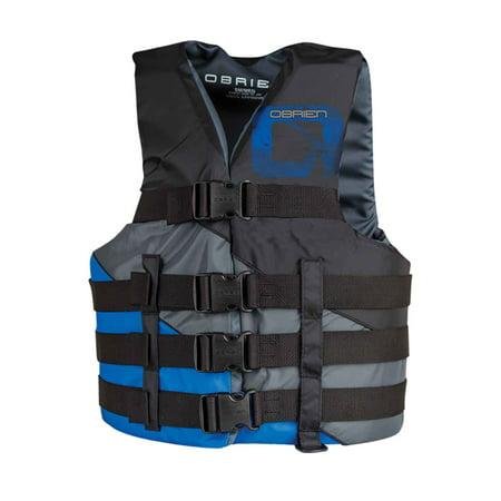 O'Brien Men's Blue 4-Belt Adjustable Sport Life Jacket, Large/XL