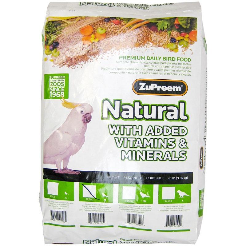 ZuPreem Natural with Added Vitamins & Minerals Premium Daily Bird Food - Medium Birds 20 lbs