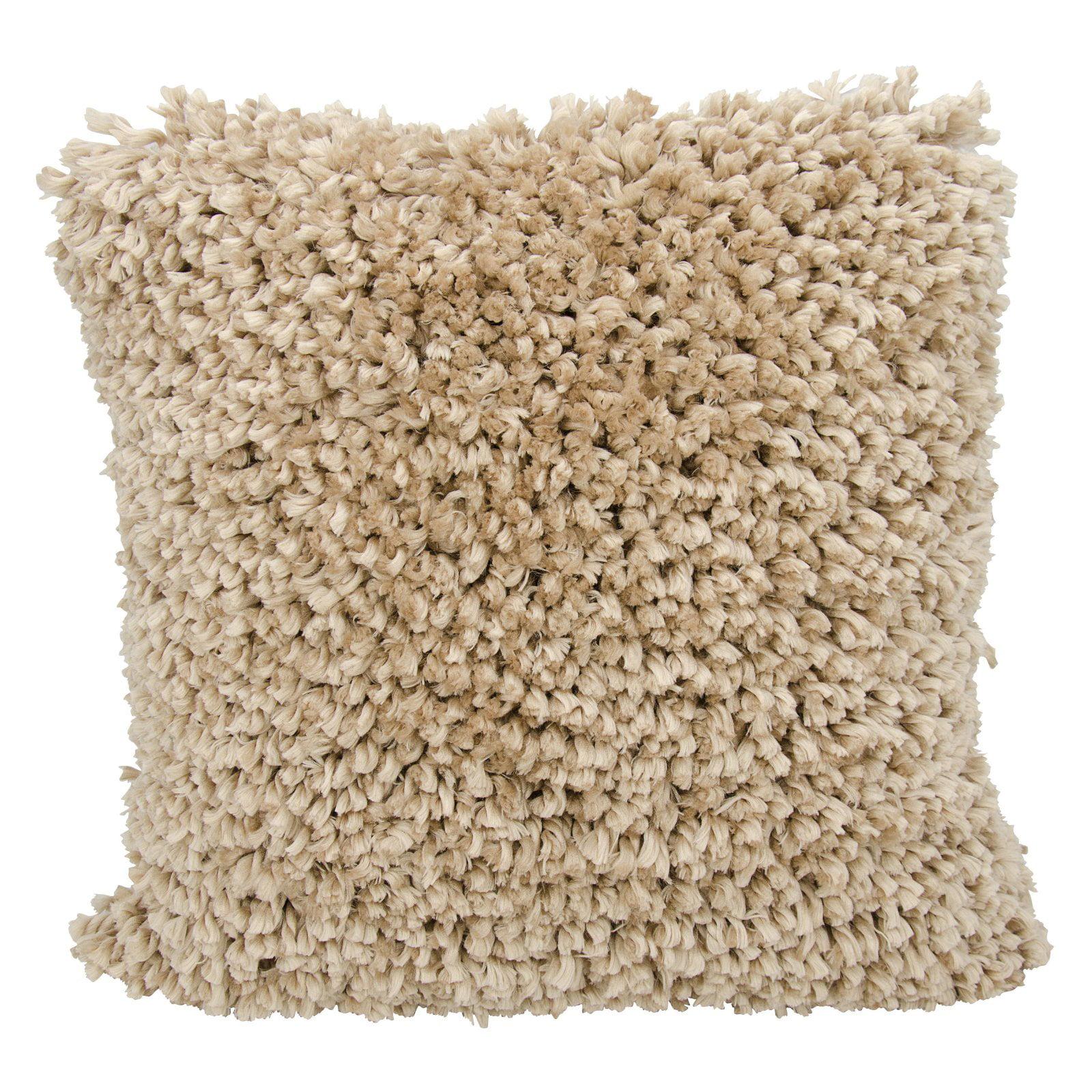 "Nourison Finger Yarn Shag Decorative Throw Pillow, 20"" x 20"", White"