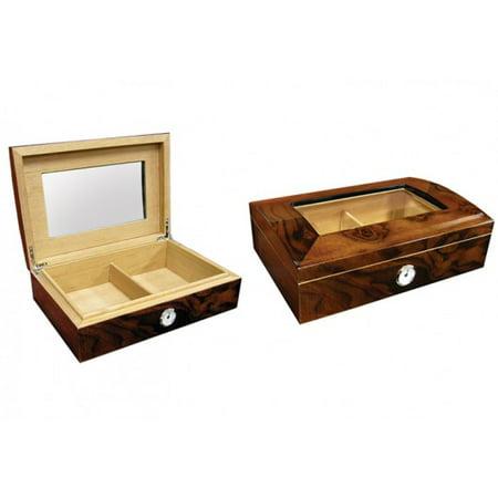 Addison Dome Shaped Top Cigar Humidor w/Beveled Glass - High Gloss Walnut Burl Finish - Capacity: 40