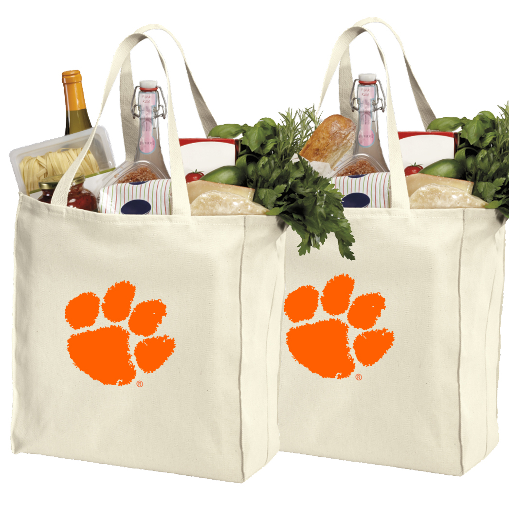 Clemson University Shopping Bags or Cotton Clemson Grocery Bags - 2 Pc Set