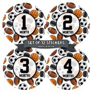 Monthly Baby Stickers by Months In Motion | 12 Month Milestone Sticker for Newborn Babies Boy Sports (Style 1160)