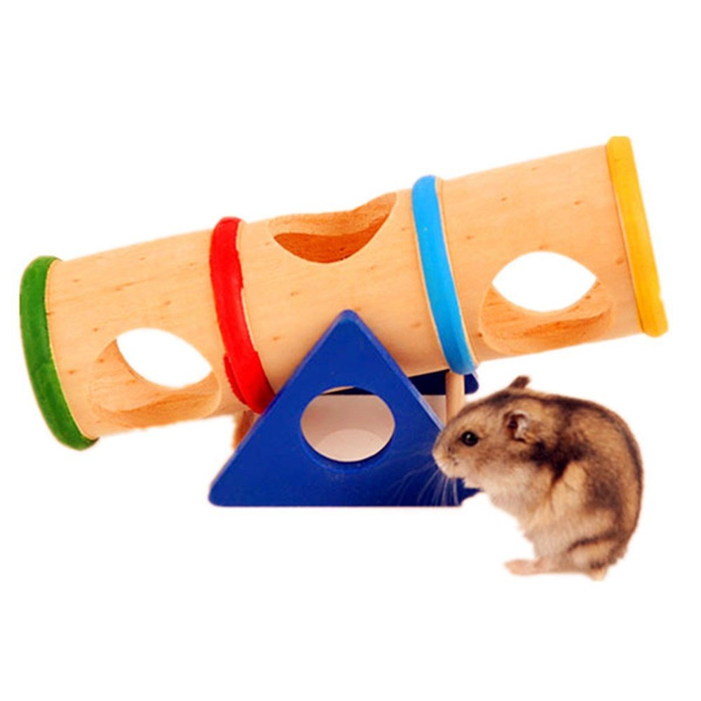 Seesaw Hide Toy Hamster Playground Tubes Tunnels Mouse Rat Wooden Colorful Cage Cask House by