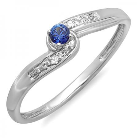 - 18K White Gold Round Blue Sapphire & White Diamond Crossover Swirl Ladies Bridal Promise Engagement Ring