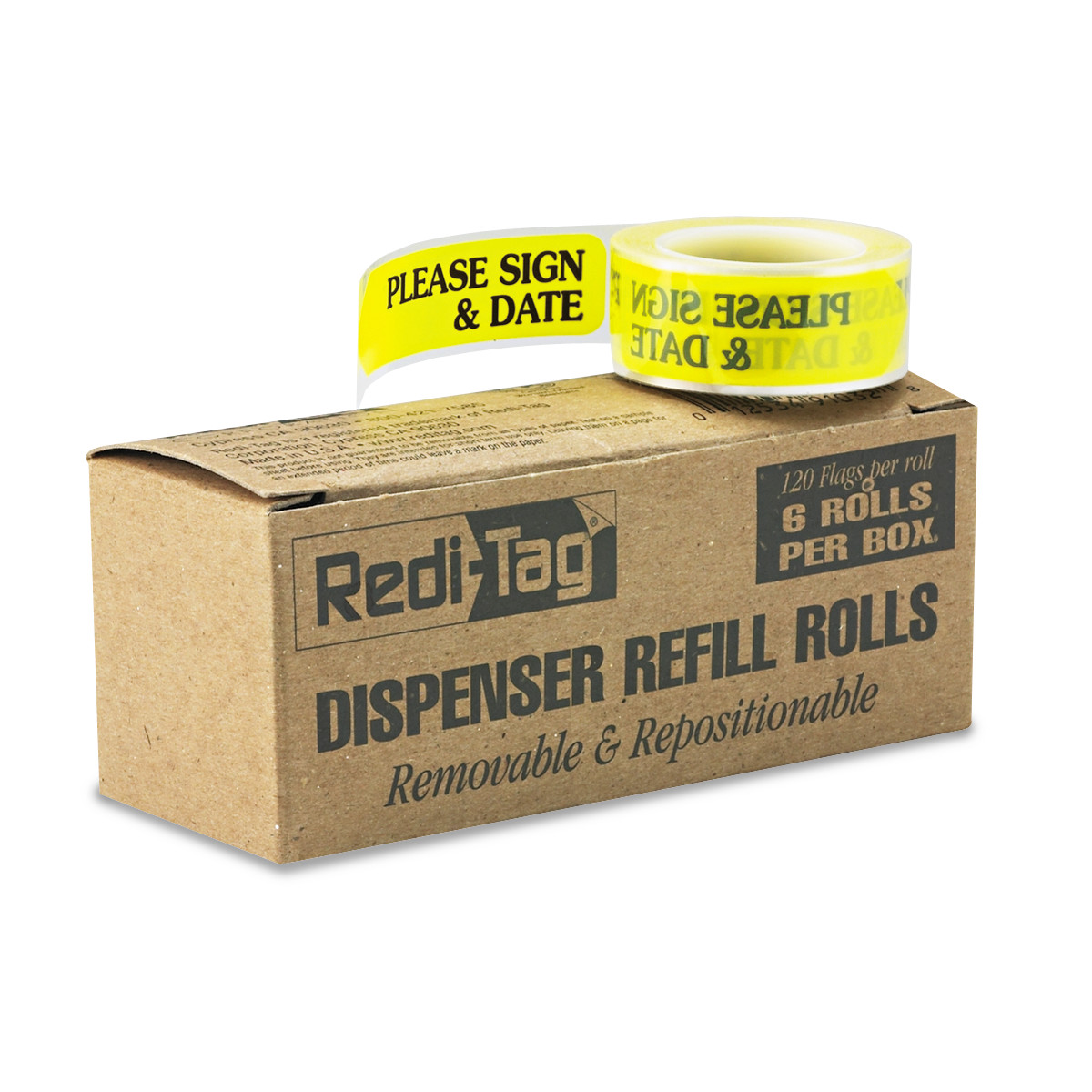 Redi-Tag Arrow Message Flag Refills Please Sign & Date Yellow 120/Roll 6pk RTG91032