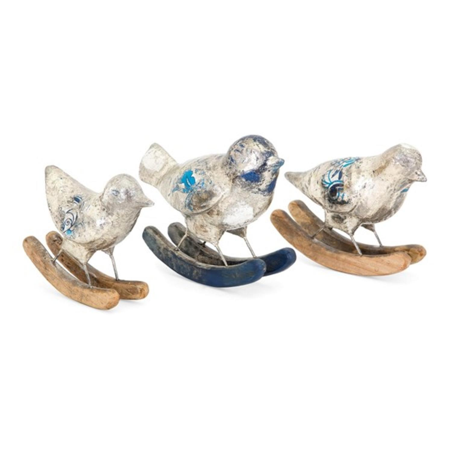 IMAX Set of 3 Fanciful Statue of Birds on Rockers of vari...