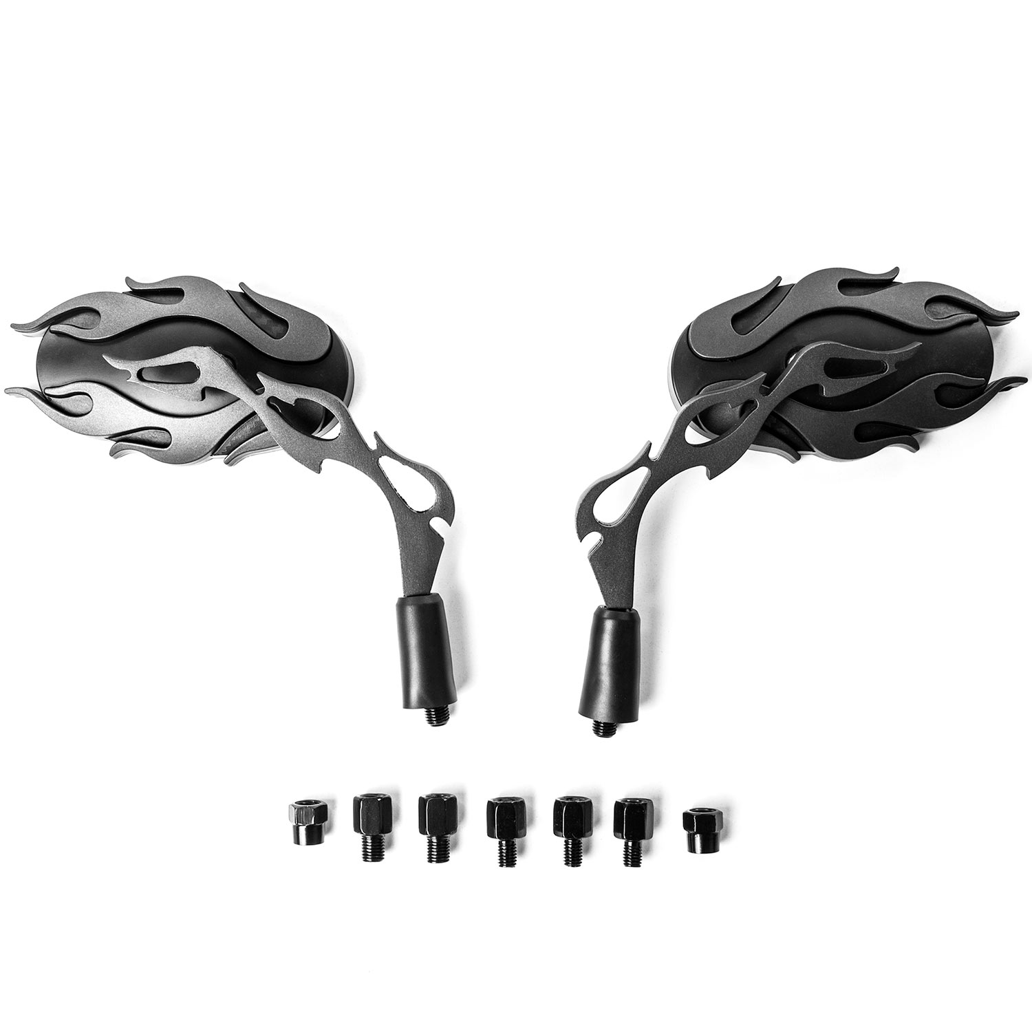 Flame Rear View Mirrors Black Pair w/Adapters For Harley Davidson Softail Fat Boy FLSTF - image 2 of 3