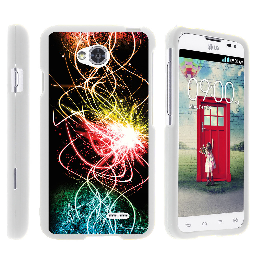LG Optimus L70, Ultimate 2, Optimus Exceed, [SNAP SHELL][White] Hard White Plastic Case with Non Slip Matte Coating with Custom Designs - Colorful Light Show