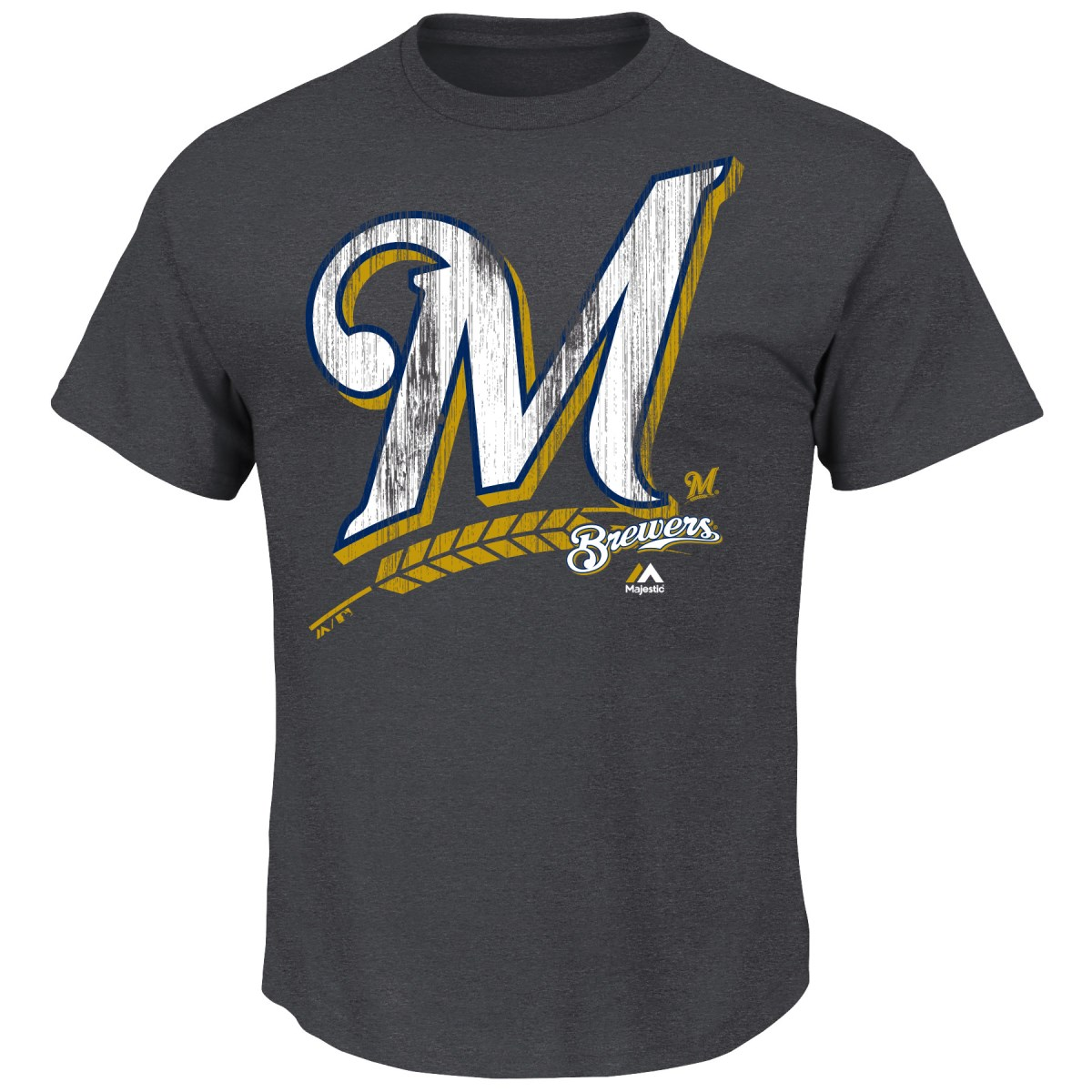 "Milwaukee Brewers Majestic MLB ""Schooled"" S/S Men's Charcoal T-Shirt"