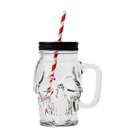 Novelty Glass Skull Face Drinking Mug Mason Jar with Glass Handles 18oz with Lid and Straw](Mason Jars With Lids And Straws)