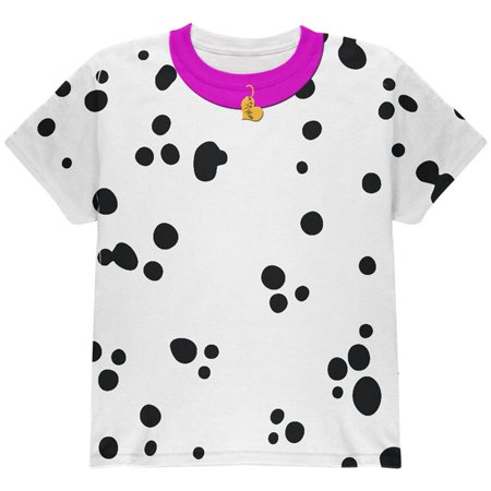 Halloween Dog Dalmatian Costume Pink Collar Be Mine All Over Youth T Shirt - Kids Dalmatian Costume