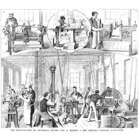 Factory Interior 1880 Nthe Manufacture Of Universal Chucks At The E Horton   Son Company Factory In Windsor Locks Connecticut Wood Engraving American 1880 Rolled Canvas Art     18 X 24