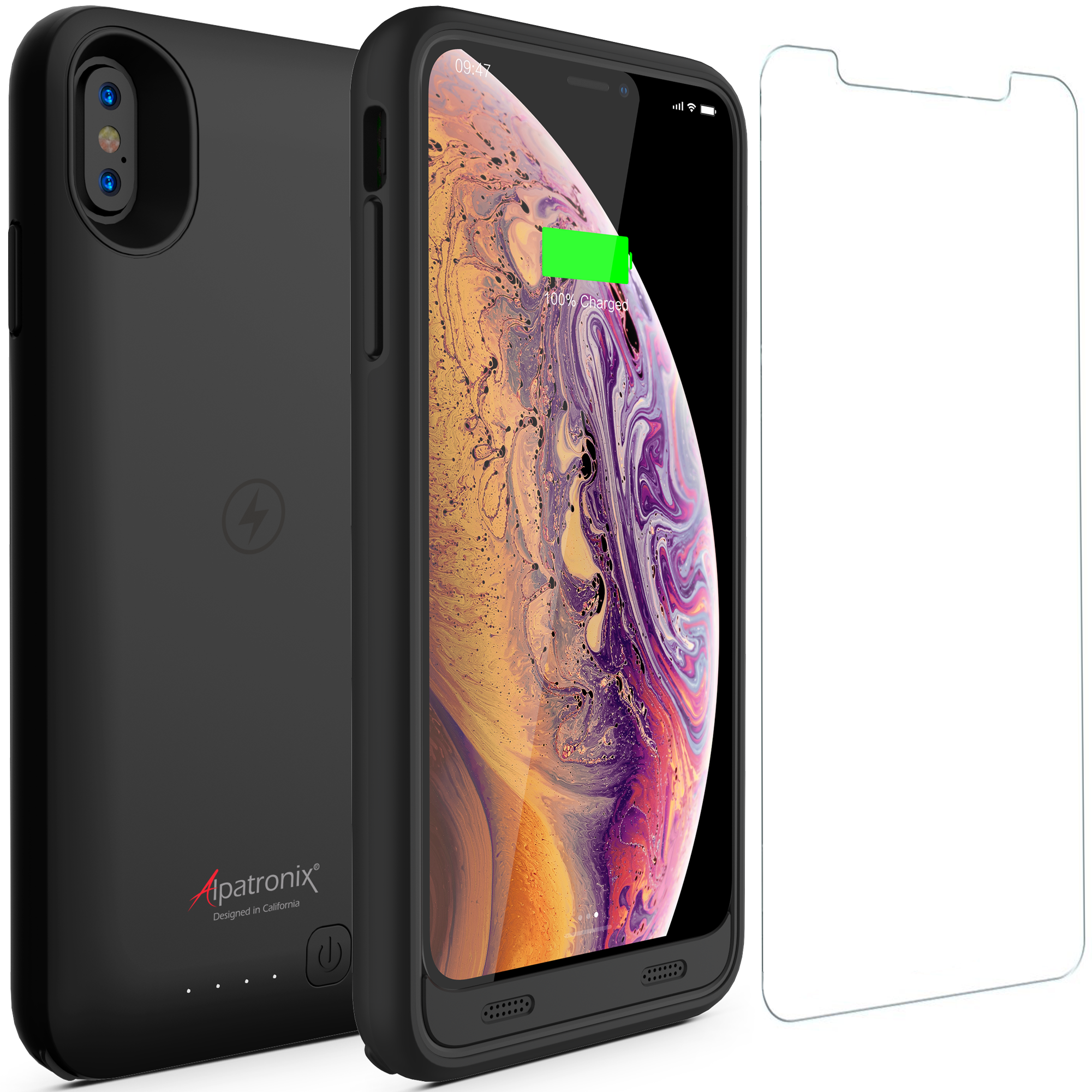 iPhone Xs Max Battery Case with Qi Wireless Charging Compatible, Alpatronix BX10 Max 6.5-inch 3500mAh Rechargeable Protective Portable Charger Cover for iPhone Xs Max Juice Bank Power Pack