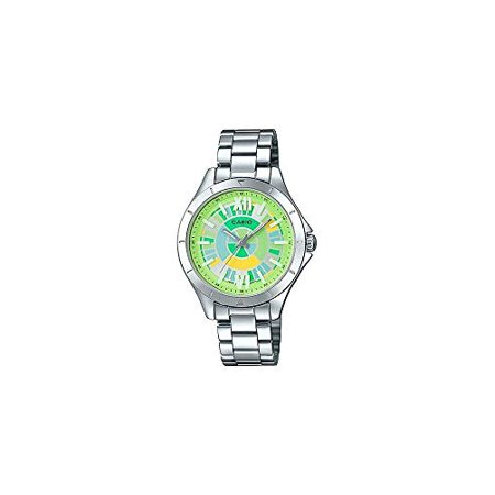 CASIO LTP-E129D-3A Women Silver Band with Colorful Green Dial Watch