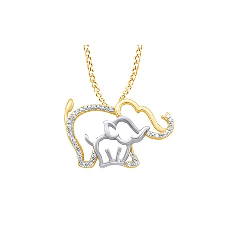 White Natural Diamond Mother & Baby Elephant Pendant In 10K Yellow