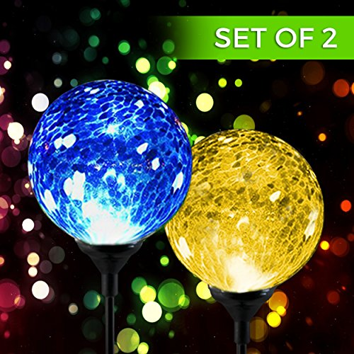 Solar Powered Crackle Glass Ball- Color Changing Stake Lights- Set Of 2- 100% Weatherproof... by Garden Accents