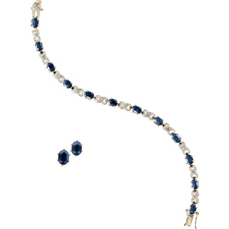 - Gold and Rhodium Plated Sapphire Ovals with Diamond Accent Bracelet with Oval Earring Set, 7