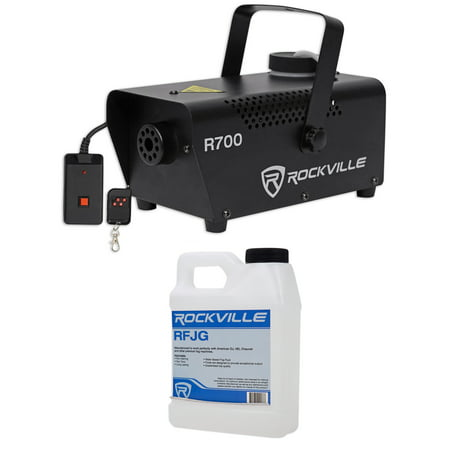 Rockville R700 Fog/Smoke Machine w/ Remote Quick Heatup, Thick Fog+Gallon Fluid - Smoke Mechine